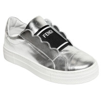 SLIP-ON-SNEAKERS AUS METALLISCHEM LEDER