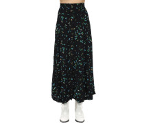 PRINTED VISCOSE CREPE MIDI SKIRT