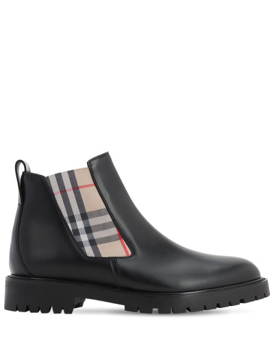 LEATHER CHELSEA BOOTS W/ CHECK ELASTIC
