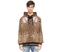 HOODED PATCH & LEOPARD PRINT SWEATSHIRT