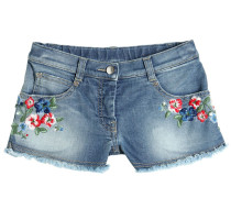 BESTICKTE SHORTS AUS STRETCH-DENIM