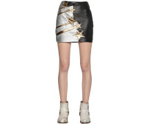 STAR PATCH SMOOTH LEATHER MINI SKIRT