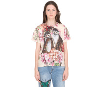 T-SHIRT AUS JERSEY 'BLOOM & MONKEYS'