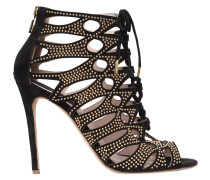 110MM STUDS & SUEDE CAGE SANDALS