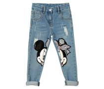 JEANS AUS STRETCH-DENIM MIT MINNIE-PATCHES