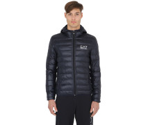 PACKABLE HOODED QUILTED DOWN JACKET