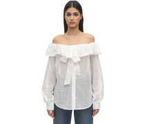 OFF-THE-SHOULDER COTTON EYELET SHIRT
