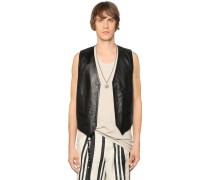 NAPPA LEATHER VEST W/ SKULL STUDS