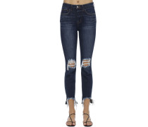 DESTROYED HIGH RISE STRETCH JEANS