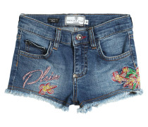 VERZIERTE SHORTS AUS STRETCH-DENIM