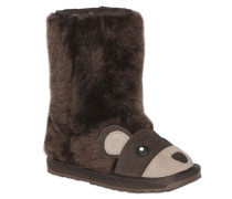 BEAR FACE FAUX SHEARLING & SUEDE BOOTS
