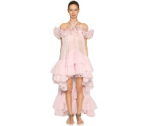 RUFFLED SILK GEORGETTE & ORGANZA DRESS