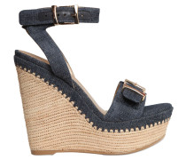 120MM HOHE WEDGE-SANDALEN AUS DENIM 'BISSY'