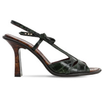 90MM DIANA CROC EMBOSSED LEATHER SANDALS