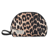 SMALL LEOPARD PRINTED NYLON MAKEUP BAG