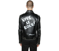 HAND PAINTED LEATHER BIKER JACKET