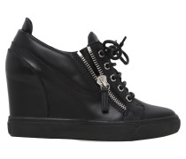 90MM HOHE WEDGE-SNEAKERS AUS LEDER
