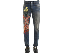 17.5CM STONE-WASHED JEANS 'DRAGON'