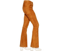 FLARED STRETCH SUEDE PANTS