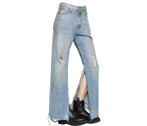 WIDE COTTON DENIM JEANS W/ SIDE SNAPS