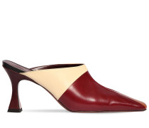 80MM CITY LEATHER TRICOLOR MULES