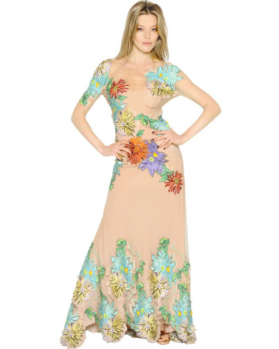 blumarine damen kleid aus t ll mit blumenstickerei 65. Black Bedroom Furniture Sets. Home Design Ideas