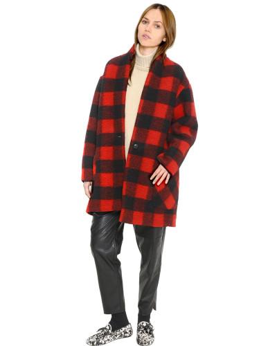 isabel marant damen karierter mantel aus gekochter. Black Bedroom Furniture Sets. Home Design Ideas