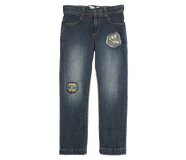 JEANS AUS STRETCH-DENIM MIT PATCHES