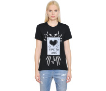 T-SHIRT AUS BAUMWOLLJERSEY 'TIME TO LOVE'