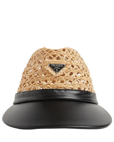 RAFFIA & LEATHER HAT