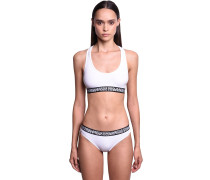 DOUBLE LOGO COTTON JERSEY SPORTS BRA