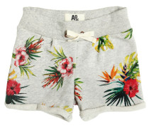 FLORAL PRINTED COTTON SWEAT SHORTS