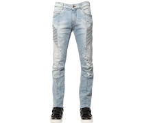 15.5CM BIKERJEANS AUS DENIM IM DESTROYED LOOK