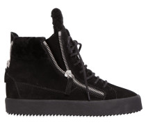 50MM WEDGE-SNEAKERS AUS SHEARLING UND WILDLEDER