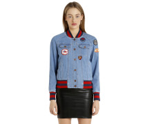 BOMBERJACKE AUS DENIM MIT GIGI HADID-PATCHES
