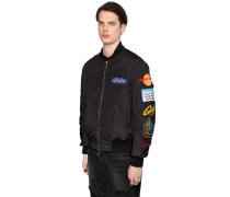 BOMBERJACKE AUS CANVAS MIT PATCHES
