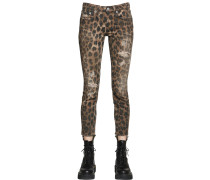 KATE LEOPARD PRINT COTTON DENIM JEANS