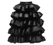 RUFFLED SATIN & FAUX LEATHER MAXI SKIRT