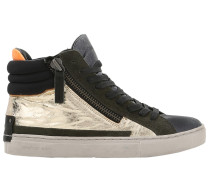 20MM HOHE SNEAKERS AUS METALLIC-LEDER & WILDLEDER