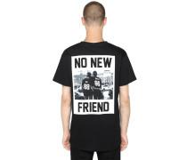 T-SHIRT AUS JERSEY MIT DRUCK 'NO NEW FRIEND'