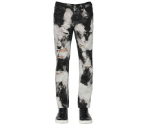 17.5CM TIE DYE COTTON DENIM JEANS