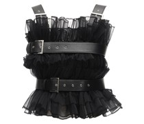 RUFFLED TULLE TOP W/ FAUX LEATHER BELTS