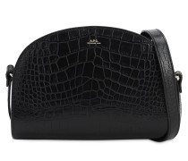 DEMI LUNE CROC EMBOSSED LEATHER BAG