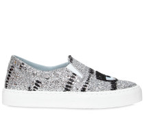 30MM SLIP-ON-SNEAKERS MIT GLITZER 'EYE & LIPS'