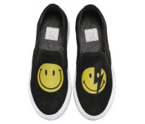 SLIP-ON-SNEAKERS AUS KUNSTWILDLEDER MIT SMILEY
