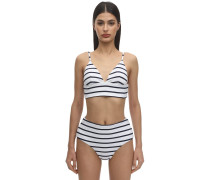 RETRO STRIPED NYLON BLEND RIB BIKINITOP