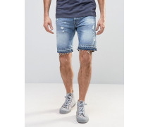 Schmale Jeansshorts in Distressed-Optik mit ungesäumter Kante Blau