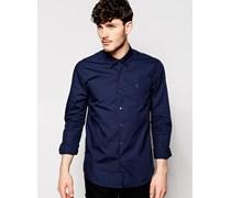 Elegantes Hemd mit verdeckt geknöpftem Kragen in schmaler Passform Blau