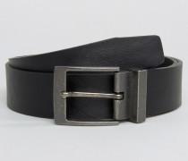 Schwarzer Gürtel mit Metallschnalle Schwarz