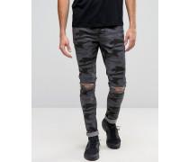 Superenge Jeans mit Riss am Knie in Schwarz mit Tarnmuster Schwarz